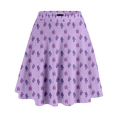 Pattern Background Violet Flowers High Waist Skirt by Nexatart