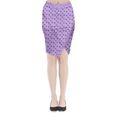 Pattern Background Violet Flowers Midi Wrap Pencil Skirt