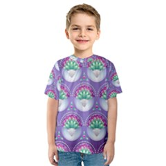 Background Floral Pattern Purple Kids  Sport Mesh Tee