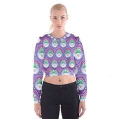 Background Floral Pattern Purple Cropped Sweatshirt