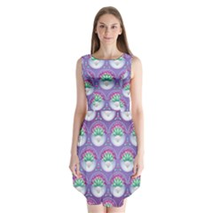 Background Floral Pattern Purple Sleeveless Chiffon Dress