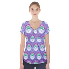 Background Floral Pattern Purple Short Sleeve Front Detail Top
