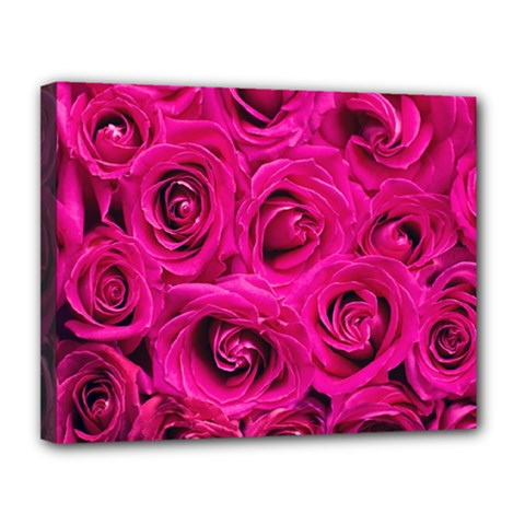 Pink Roses Roses Background Canvas 14  X 11  by Nexatart