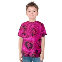 Pink Roses Roses Background Kids  Cotton Tee