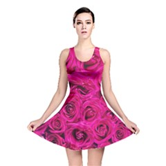 Pink Roses Roses Background Reversible Skater Dress