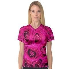 Pink Roses Roses Background Women s V Neck Sport Mesh Tee