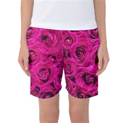 Pink Roses Roses Background Women s Basketball Shorts