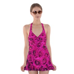 Pink Roses Roses Background Halter Swimsuit Dress by Nexatart