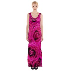 Pink Roses Roses Background Maxi Thigh Split Dress by Nexatart