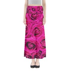 Pink Roses Roses Background Maxi Skirts