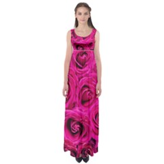 Pink Roses Roses Background Empire Waist Maxi Dress by Nexatart