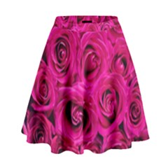 Pink Roses Roses Background High Waist Skirt