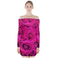 Pink Roses Roses Background Long Sleeve Off Shoulder Dress