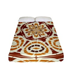 Brown And Tan Abstract Fitted Sheet (full/ Double Size) by linceazul