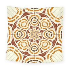 Brown And Tan Abstract Square Tapestry (large) by linceazul