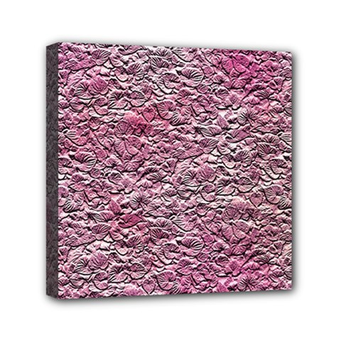 Leaves Pink Background Texture Mini Canvas 6  X 6  by Nexatart