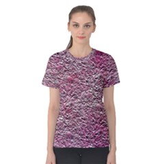 Leaves Pink Background Texture Women s Cotton Tee