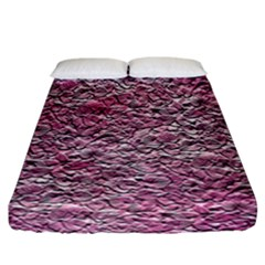 Leaves Pink Background Texture Fitted Sheet (california King Size) by Nexatart