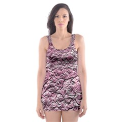 Leaves Pink Background Texture Skater Dress Swimsuit
