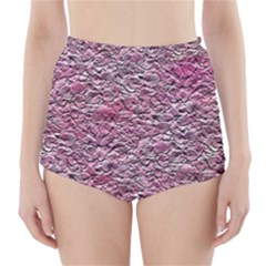Leaves Pink Background Texture High Waisted Bikini Bottoms