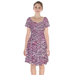 Leaves Pink Background Texture Short Sleeve Bardot Dress