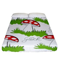 Mushroom Luck Fly Agaric Lucky Guy Fitted Sheet (california King Size) by Nexatart