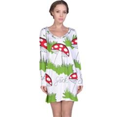 Mushroom Luck Fly Agaric Lucky Guy Long Sleeve Nightdress
