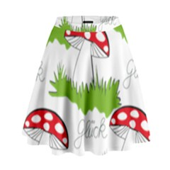 Mushroom Luck Fly Agaric Lucky Guy High Waist Skirt by Nexatart