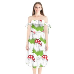 Mushroom Luck Fly Agaric Lucky Guy Shoulder Tie Bardot Midi Dress