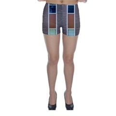 Pattern Symmetry Line Windows Skinny Shorts