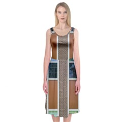 Pattern Symmetry Line Windows Midi Sleeveless Dress