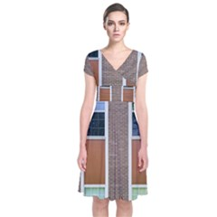 Pattern Symmetry Line Windows Short Sleeve Front Wrap Dress