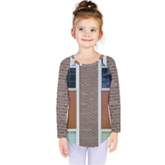 Pattern Symmetry Line Windows Kids  Long Sleeve Tee by Nexatart