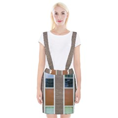 Pattern Symmetry Line Windows Braces Suspender Skirt
