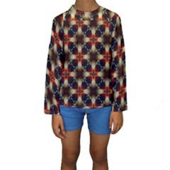 Kaleidoscope Image Background Kids  Long Sleeve Swimwear