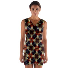 Kaleidoscope Image Background Wrap Front Bodycon Dress