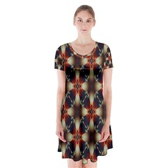 Kaleidoscope Image Background Short Sleeve V Neck Flare Dress