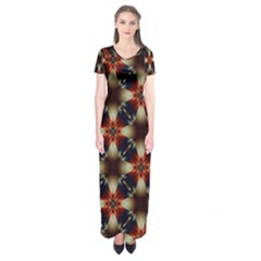 Kaleidoscope Image Background Short Sleeve Maxi Dress