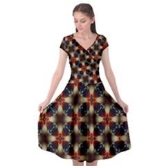 Kaleidoscope Image Background Cap Sleeve Wrap Front Dress