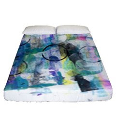Background Color Circle Pattern Fitted Sheet (queen Size)
