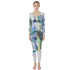 Background Color Circle Pattern Long Sleeve Catsuit