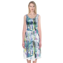 Background Color Circle Pattern Midi Sleeveless Dress