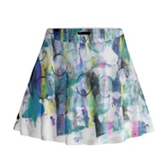 Background Color Circle Pattern Mini Flare Skirt