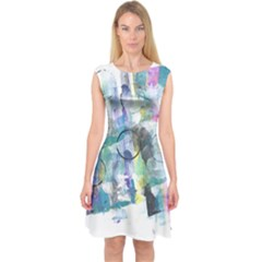 Background Color Circle Pattern Capsleeve Midi Dress by Nexatart