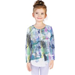 Background Color Circle Pattern Kids  Long Sleeve Tee