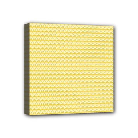 Pattern Yellow Heart Heart Pattern Mini Canvas 4  x 4