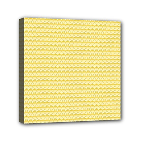 Pattern Yellow Heart Heart Pattern Mini Canvas 6  x 6