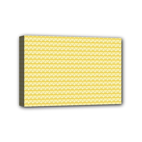 Pattern Yellow Heart Heart Pattern Mini Canvas 6  x 4