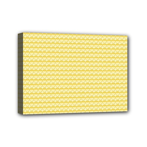 Pattern Yellow Heart Heart Pattern Mini Canvas 7  x 5