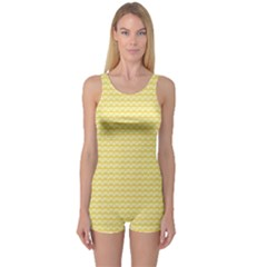 Pattern Yellow Heart Heart Pattern One Piece Boyleg Swimsuit